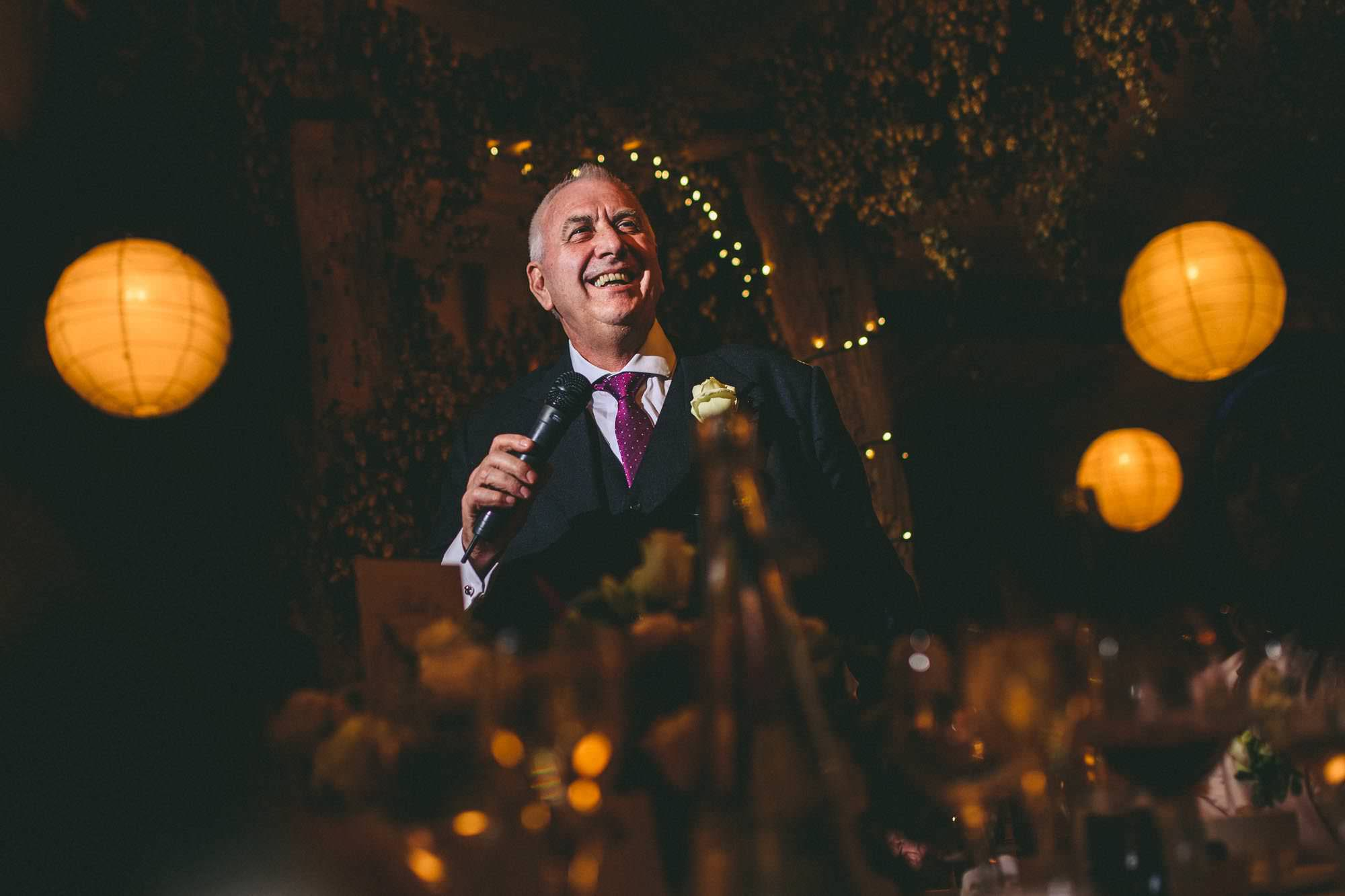 Father of the bride speech at Elegant winters barn wedding Kent