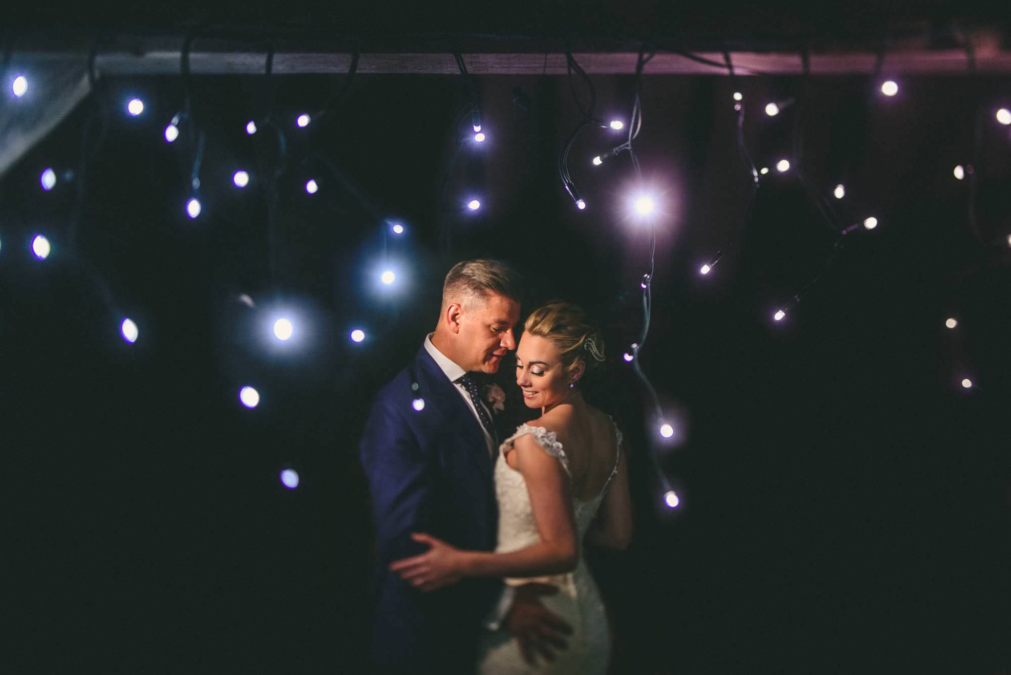 Fairy light wedding portrait Kent