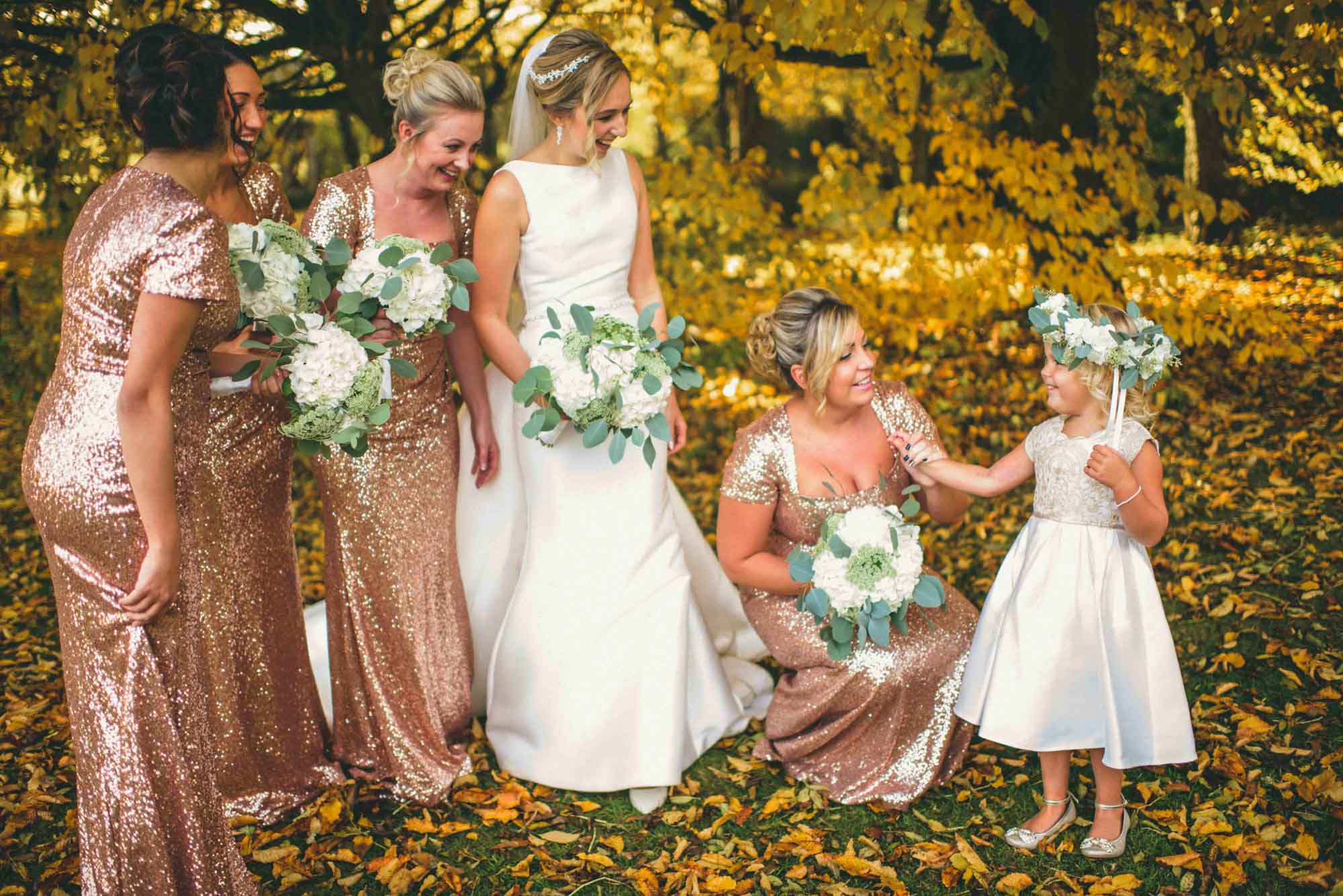 Bridemaids inshimmery dresses at Cripps Barn Wedding Photo