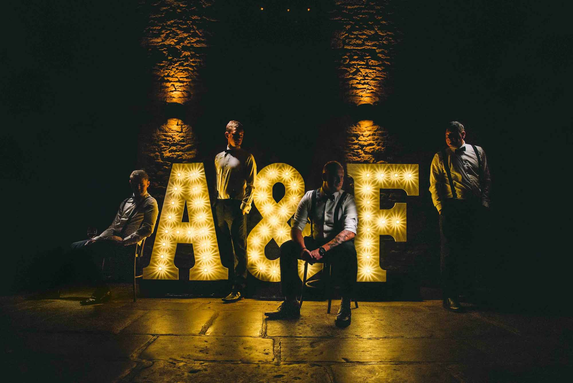 Light Up Letters at Cripps Barn Wedding Photo