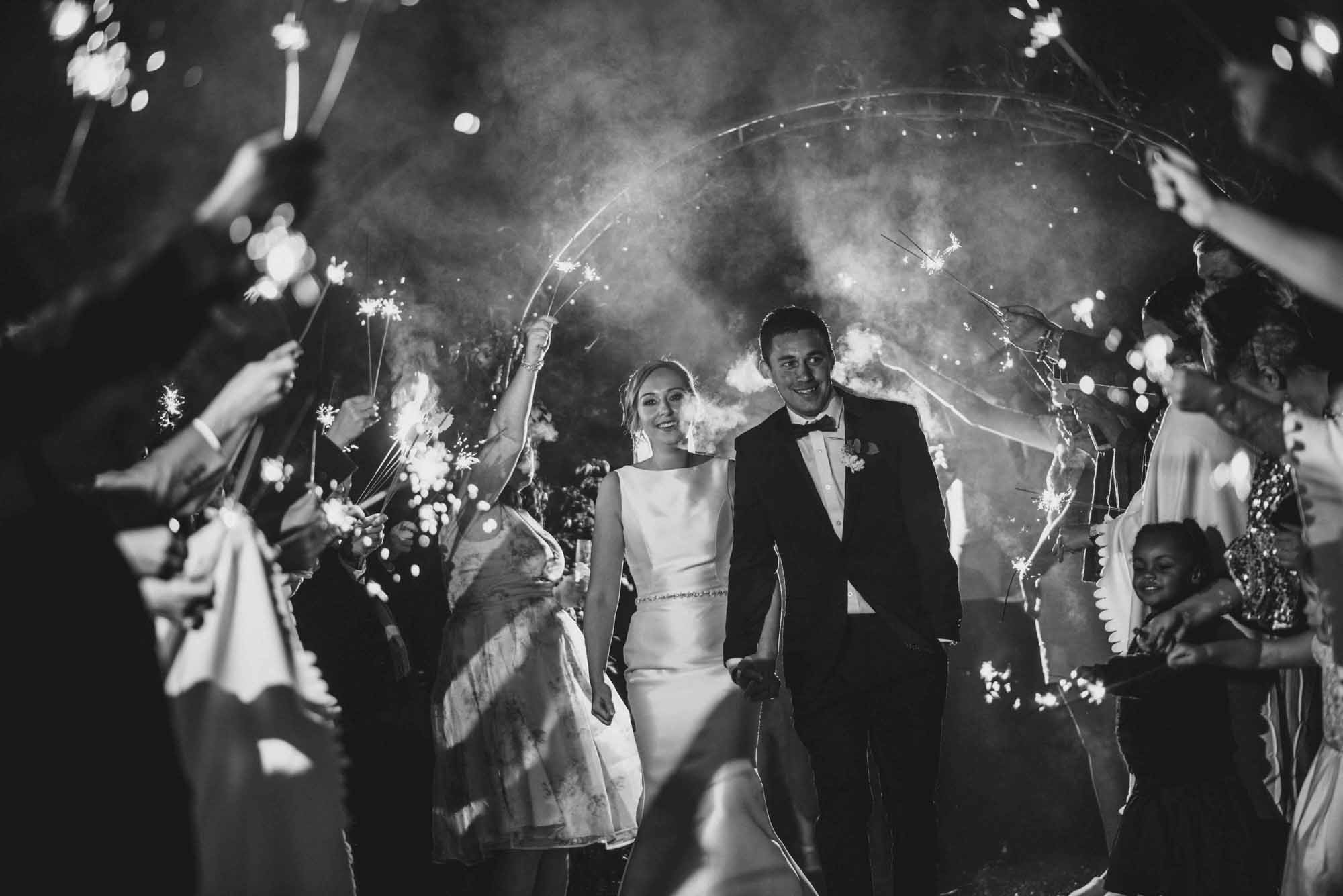 Sparklers Exit at Cripps Barn Wedding Photo