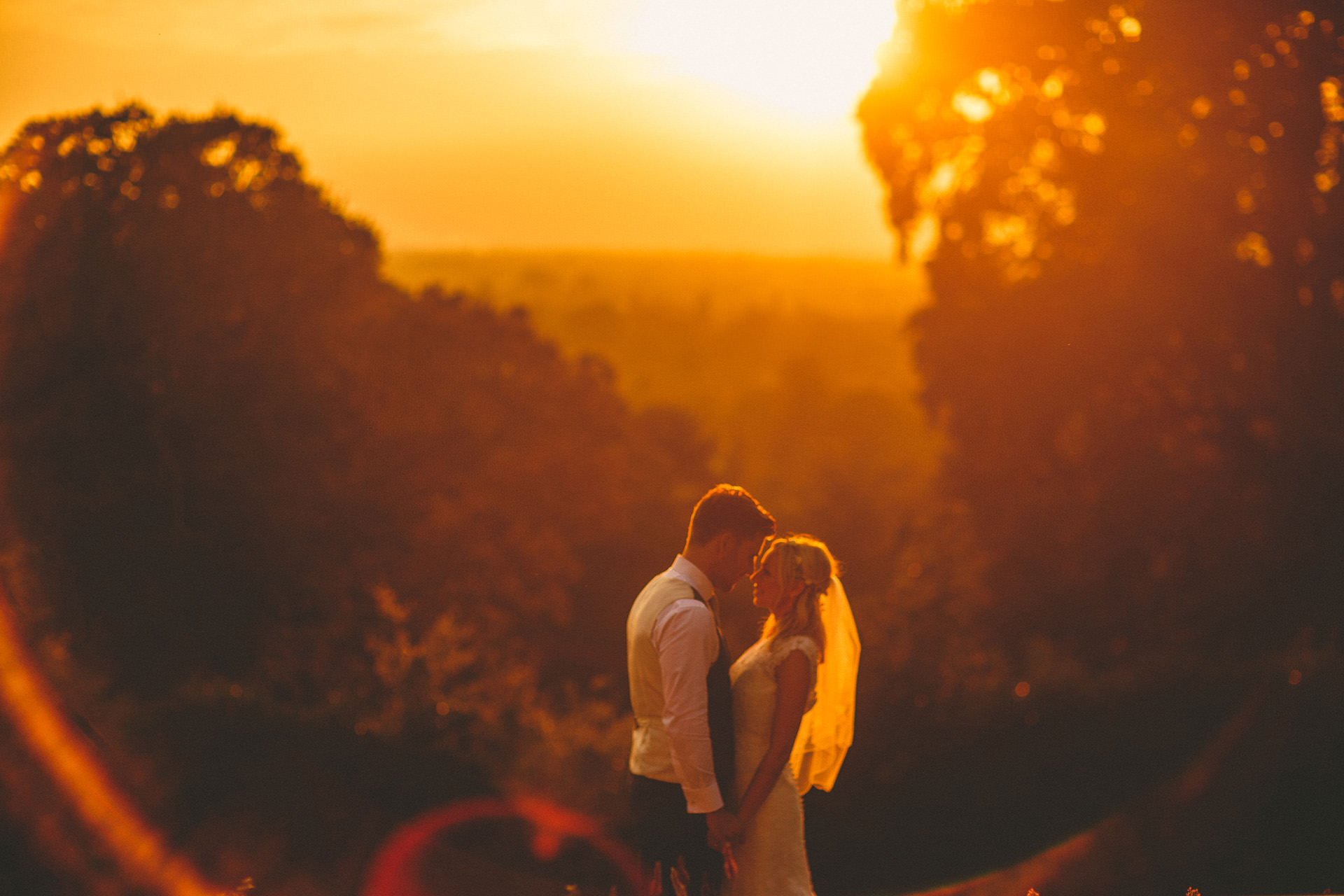 couple at Sunset at Pembroke Lodge on wedding day